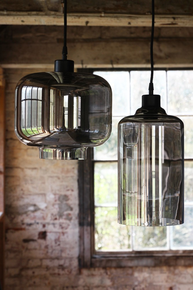 Smoked Glass Pendant Ceiling Light Cylinder From Rockett