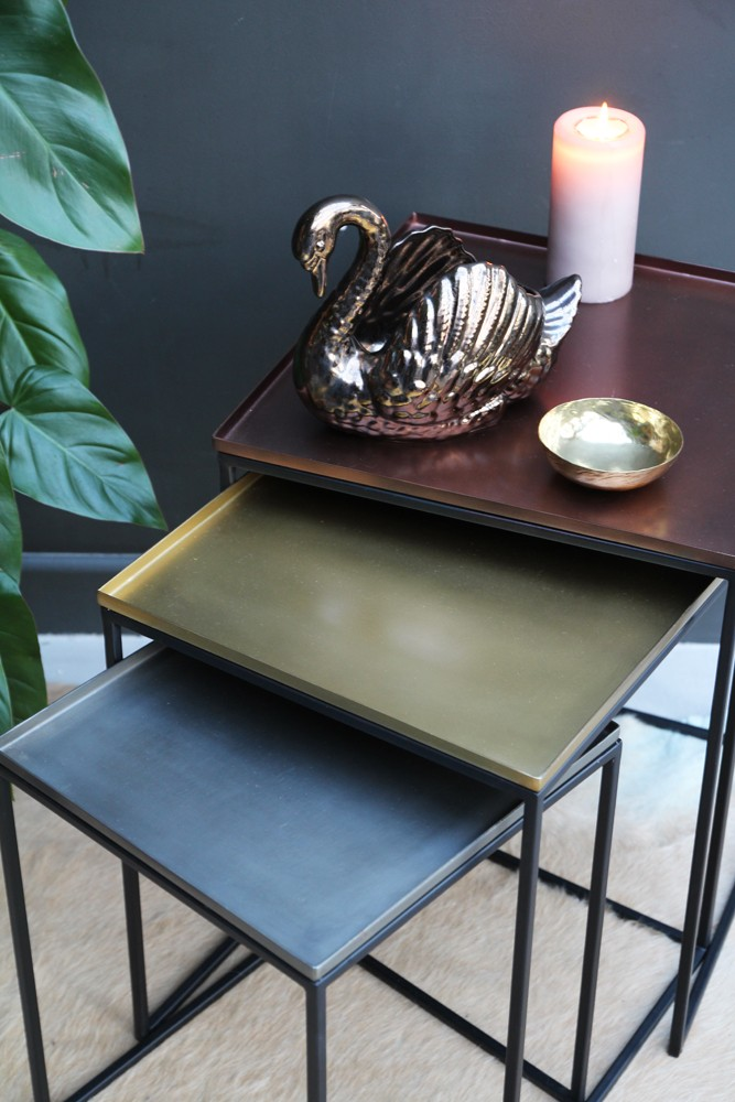 Square tray enamel nesting tables set of 3 copperbrassnickel tap to expand watchthetrailerfo