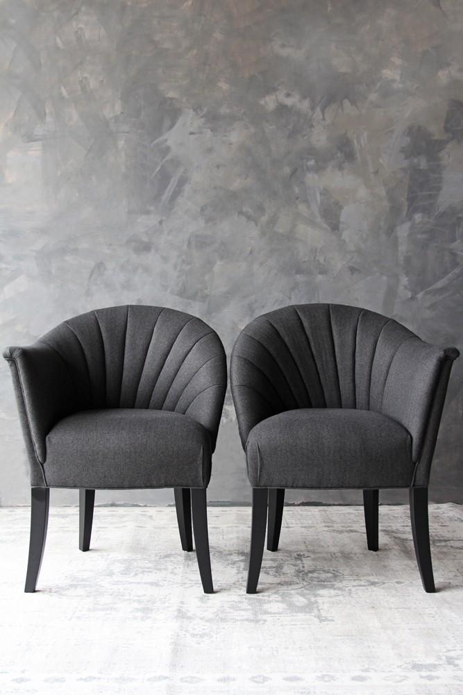 The Lovers Herringbone Tweed Chair   Homme Grey