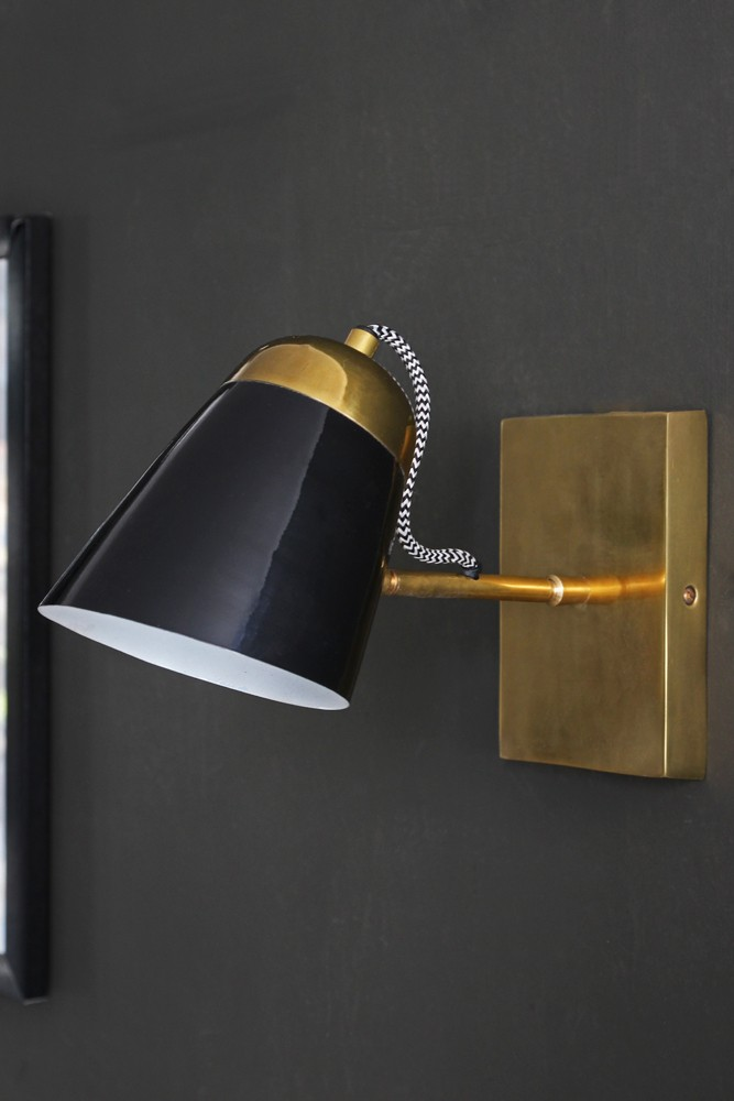 The mortimore wall light antique brass gloss black