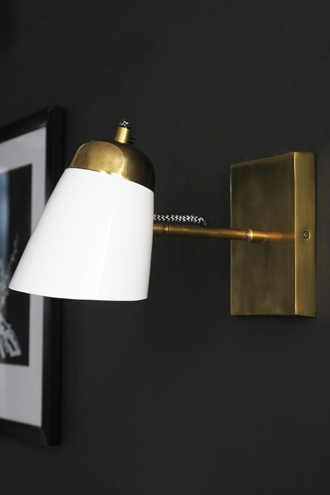 The mortimore wall light antique brass gloss white