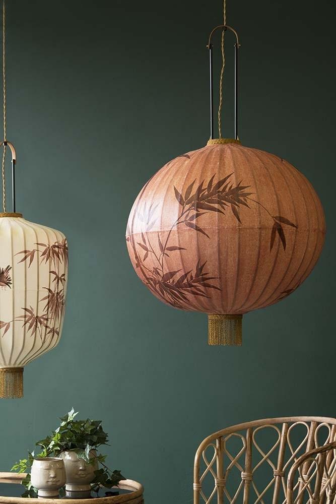 Traditional japanese lantern ceiling light terracotta globe