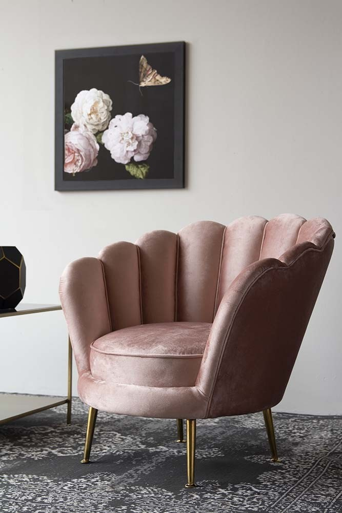 Rose Pink Velvet Petal Armchair from Rockett St George