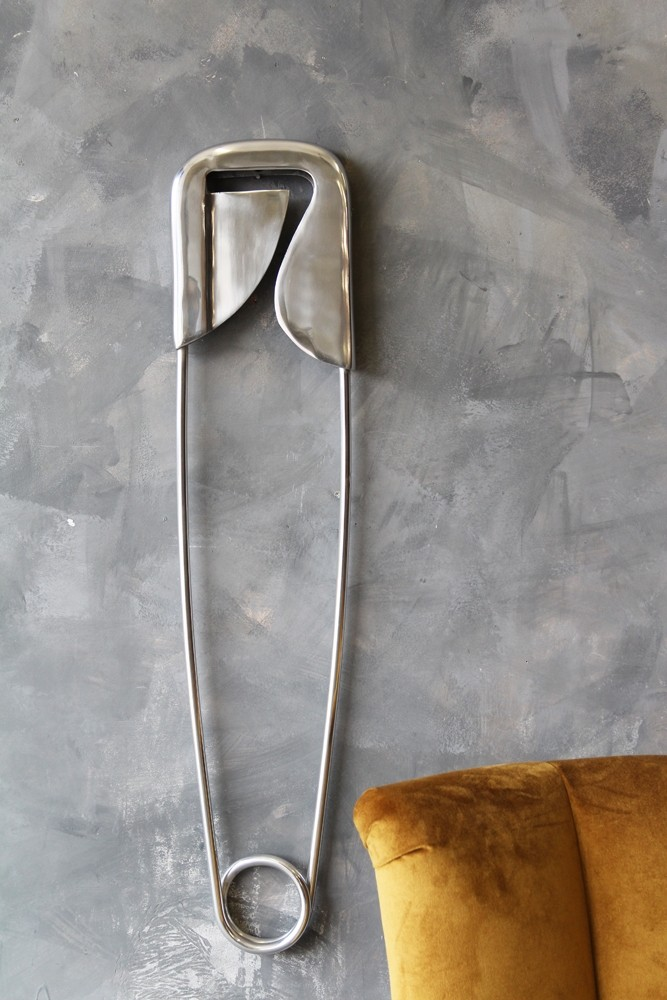 Large Polished Aluminium Safety Pin Wall Decor Hover To Zoom