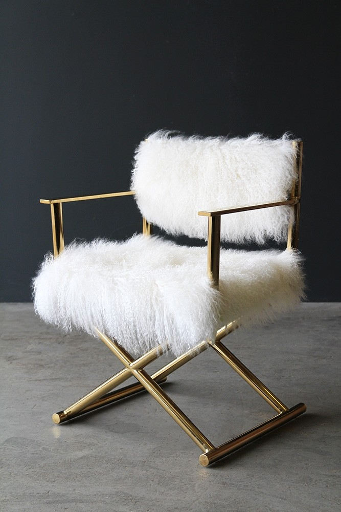 Mongolian Fur Directors Chair From Rockett St George