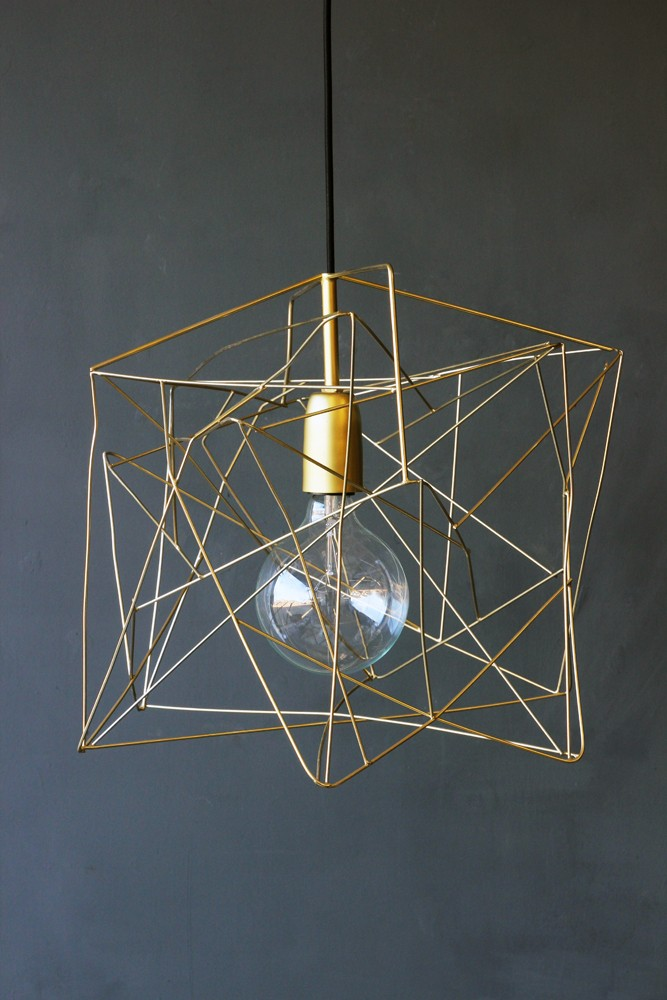 Asymmetric shiny brass lamp shade hover to zoom