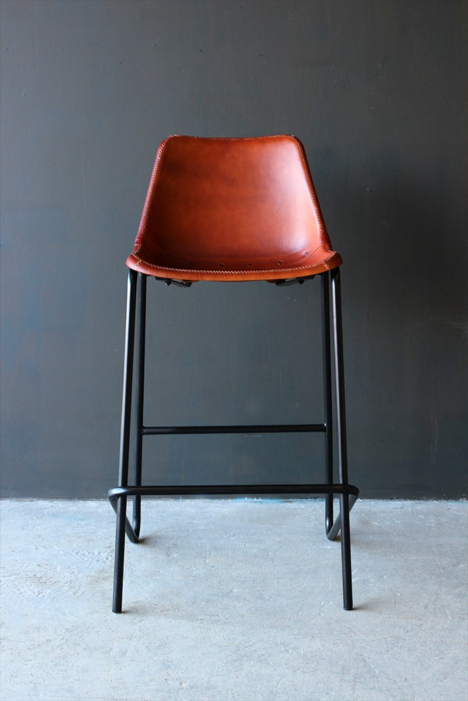 Industrial Leather Bar Stool Brown