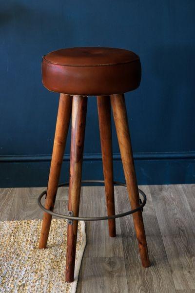 Tapas Bar Leather Stool Tall