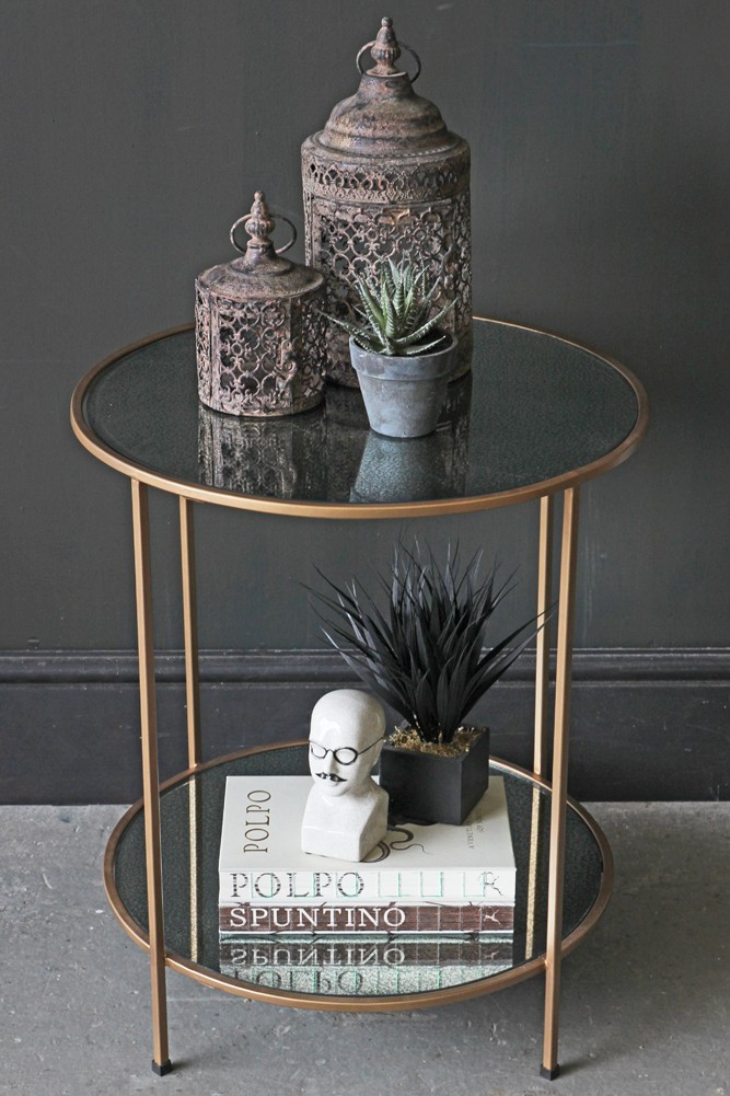 antiqued mirror side table