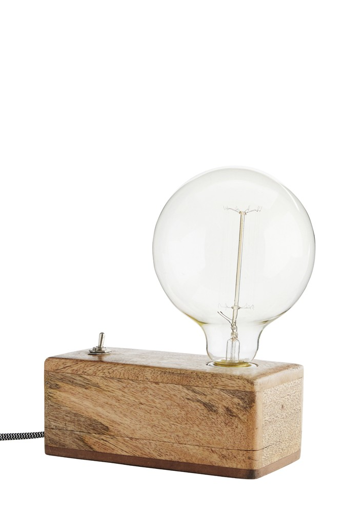 Exposed bulb wooden box table lamp aloadofball Gallery