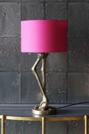 Antique Gold Flamingo Leg Table Lamp with Pink Shade
