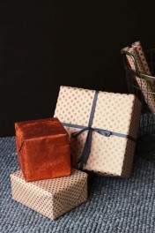 Set Of 15 Sheets Of Hand Made Glitter Gift Wrap - Copper