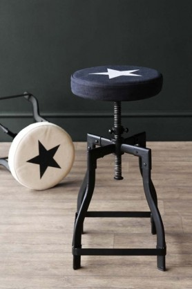 Adjustable Bar Stool With Star Design Canvas Seat - Black