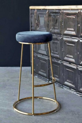 Lifestyle image of the Atlantis Bar Stool in Petrol Blue