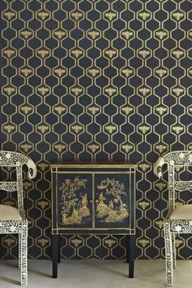 Barneby Gates Honey Bees Wallpaper - Gold on Charcoal
