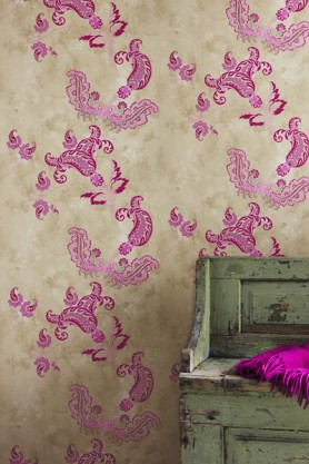 Barneby Gates Wallpaper - Paisley - Hot Pink on Tea Stain