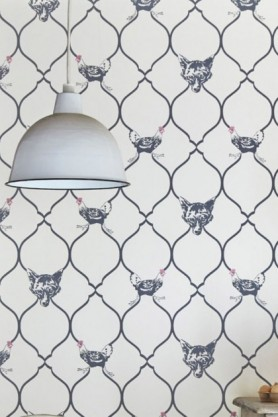 Lifestyle image of Barneby Gates Wallpaper - Fox & Hen - Charcoal & Parchment
