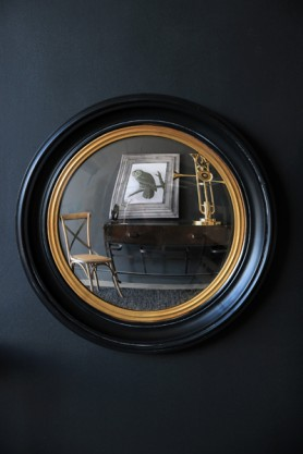 Black & Gold Framed Convex Mirror - Small