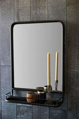 Antique Brown Mirror With Shallow Shelf - Portrait