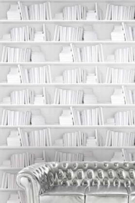 Bookshelf Wallpaper by Young & Battaglia - White 2.5m Panel