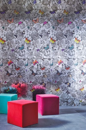 Osborne & Little - Butterfly Garden Silver Foil Wallpaper