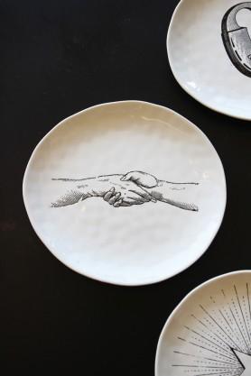 Handmade Ceramic Plate - Hands