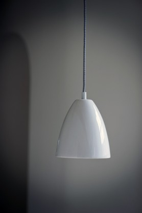 Chalky White Ceramic Ceiling Light With Rose