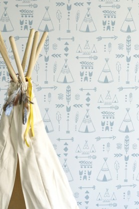 Children's Wallpaper - Teepees, A Tribal Gathering - Storm Green/Grey