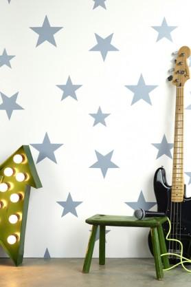 Children's Wallpaper - Wish Upon A Star - Blue/White