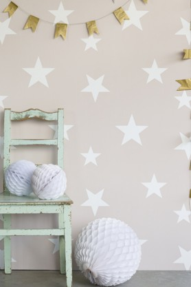 Children's Wallpaper - Wish Upon A Star - Blush/White