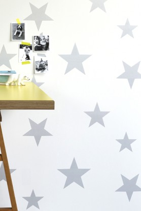 Children's Wallpaper - Wish Upon A Star - Silver/White