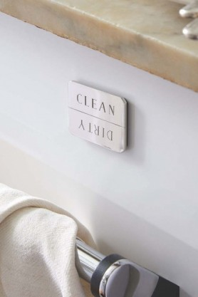 CleanDirty Dishwasher Indicator Magnet - Brass Or Stainless Steel Available