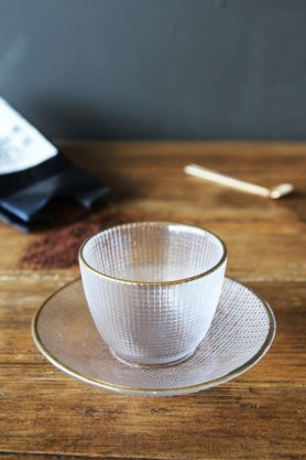 Clear Glass Cup & Saucer