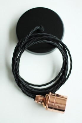 Copper Edison ES27 Screw Light Fitting with Black Twisted Flex & Black Ceiling Rose - NO SHADE RING