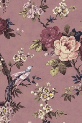 Swatch detail image of the Dawn Chorus Smokey Heather Wallpaper by Pearl Lowe