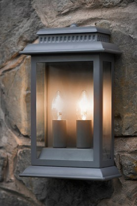 Double Bulb Outdoor Wall Light - Charcoal