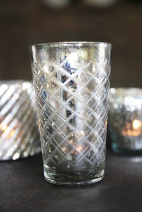 Silver Tea Light Holders - Diamond