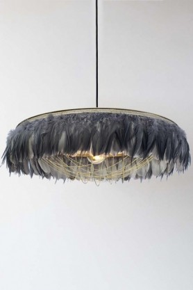 Fabulous Feather Chandelier Featuring Chains - Gloria - Grey