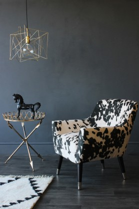 Faux Cowhide Vintage Style Armchair