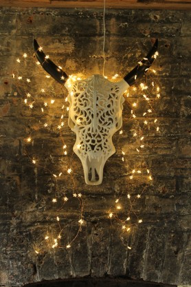 Ornate Metal Faux Bull Skull With Horns - White