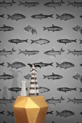 Feathr Wallpaper - Fishes In Geometrics - Silver