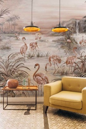 Lifestyle image of the Flamingo Chinoiserie Wallpaper Mural - Rose Pink