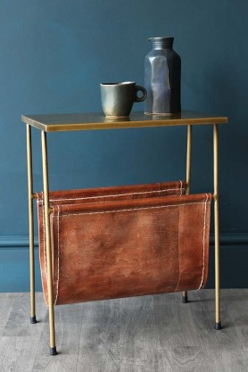 Gatsby Side Table With Leather Magazine Holder on blue wall background with mug and vase lifestyle image