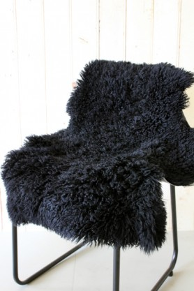 Genuine Sheepskin Rug - Curly Black