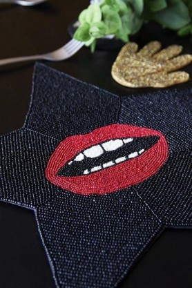 Glamorous Star Beaded Placemat - Red Hot Lips