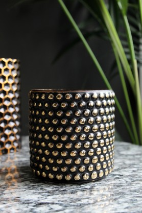 Studded Black & Gold Tealight Holder - Large