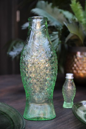 Green Glass Fish Jug / Vase