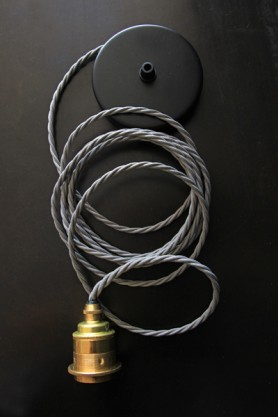 Grey Twisted Flex with Brass Light Fitting, Shade Ring and Black Ceiling Rose