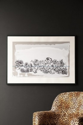 Lifestyle image of the Hand Screen Printed Floral Gladstone Grey Landscape Artwork By Lizzie Coles hanging on the wall