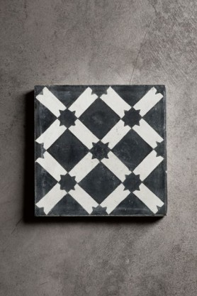 Handmade Concrete Tile -  Black and White Star Design